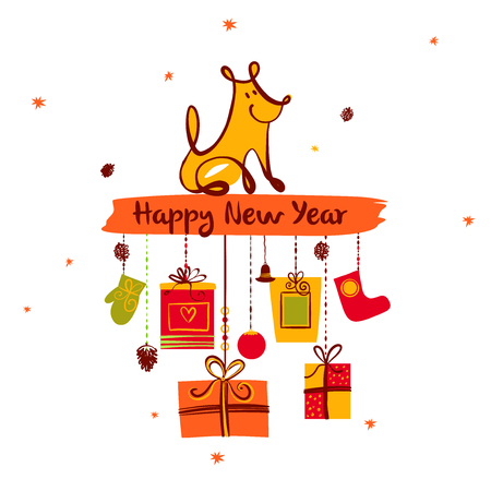 2018 year of earth dog. Sketch image of sitting dog and christmas gift on white background. Illustration