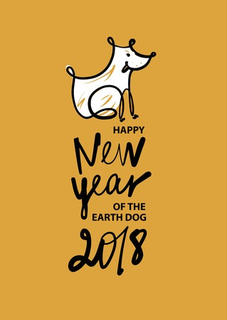 christmas greeting card: Freehand drawn illustration design template greeting card, poster, banner for 2018 year of earth dog. Sketch image of dog on color background. Illustration