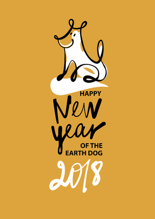Freehand drawn illustration design template greeting card, poster, banner for 2018 year of earth dog. Sketch image of dog on color background. Illustration