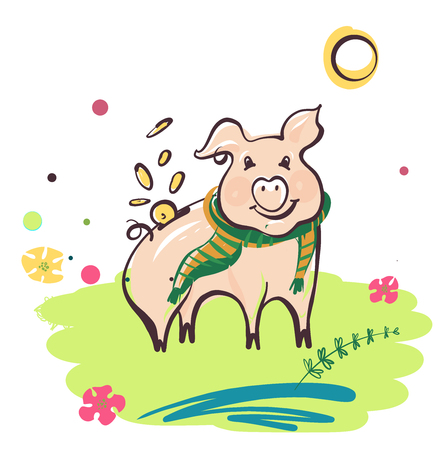 Sketch style vector illustration. Piggy bank with coin falling inside.