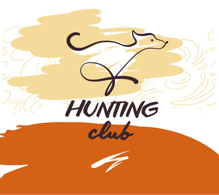 Sketch vector illustration. Template design banner, poster, card, logo for hunting club. Hand-drawn image of dog.