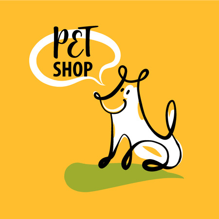 objects: Sketch image of sitting dog with text pet shop.