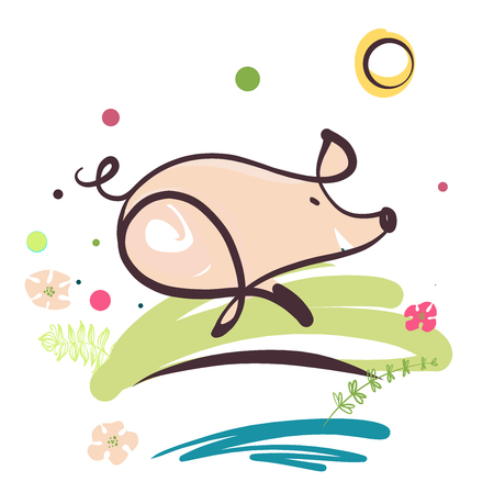 paintings: Sketch image of running pig. Element design illustration, poster, banner, logo for fun event show. Boar, pig symbol of 2019 chinese moon new year.