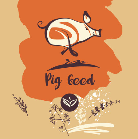 schemes: Vector illustration with text Pig feed. Sketch hand-drawn image of pig. Illustration