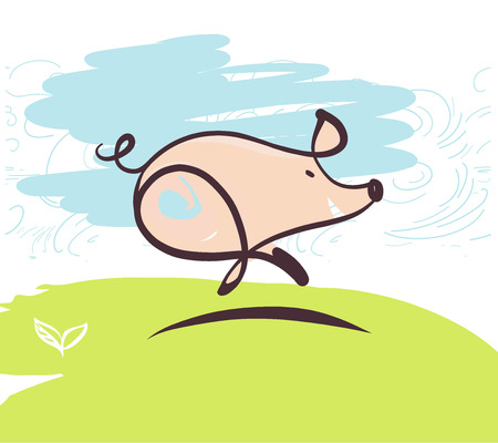 Sketch image of running pig. Element design illustration, poster, banner, logo for fun event show. Boar, pig symbol of 2019 chinese moon new year.