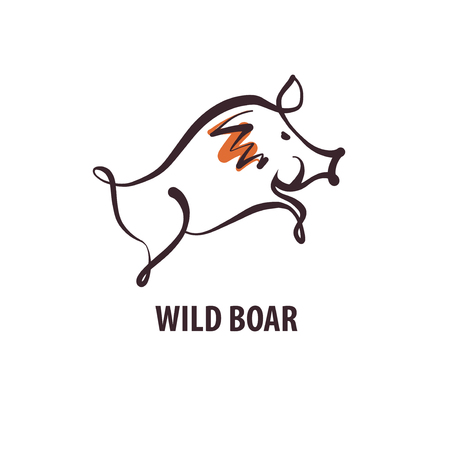 Sketch image illustration. Text Wild boar. Image of hand-drawn boar. Template poster, banner, logo for hunting hobby club. Illustration