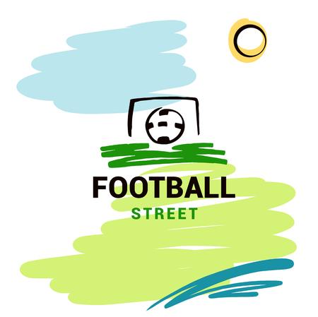 Sketch vector illustration. Element design poster, banner, card,  logo template for football, soccer school, hobby. Ball in goal. Text football street.