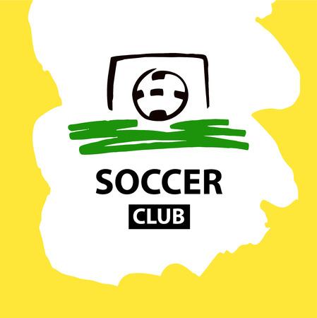 Sketch vector illustration. Element design poster, banner, card,  logo template for football, soccer school, hobby. Ball in goal. Illustration