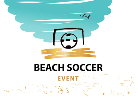 blue background: Beach soocer event. Ball in goal. Template vector illustration.