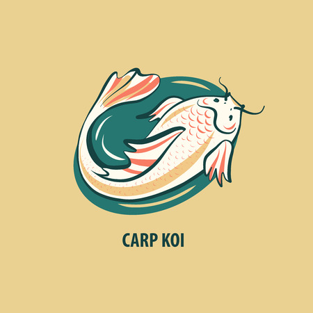 Carp koi. Japanese symbol of success and achieving goal. Sketch vector illustration.