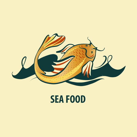 Carp koi on sea wave on light background. Template logo for fish menu sea food. Sketch vector illustation.
