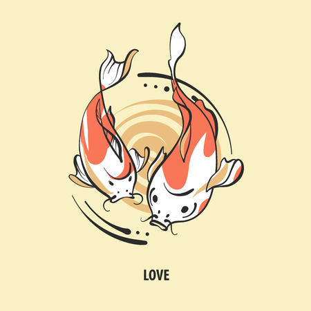 Pair of fish carp koi on light background.Text love. Sketch vector illustration. Illustration