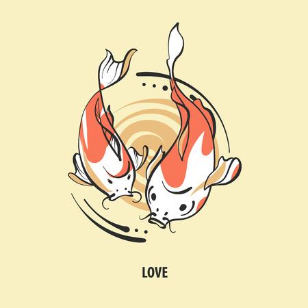 hokusai: Pair of fish carp koi on light background.Text love. Sketch vector illustration. Illustration