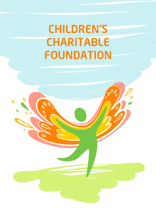 Sketch vector illustration. Vector template logo with silhouette of a healthy, happy kid, child. Children charitable organization.