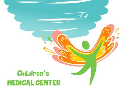 Sketch vector illustration template children medical logo. Illustration