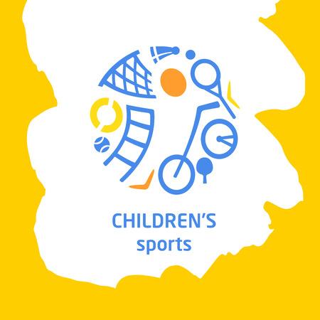Sketch vector illustration. Template logo for children sport hobby, organization.  Sporting various equipment. The symbolism, conceptual and brevity. Ilustrace