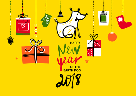 Sketch vector illustration. Happy new year of earth dog. Template card, banner, logo, poster, invitation for party event with dog, symbol chinese moon calendar 2018.