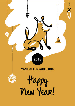 christmas greeting card: Sketch vector illustration. Happy new year of earth dog. Template card, banner, logo, poster, invitation for party event with dog, symbol chinese moon calendar 2018.