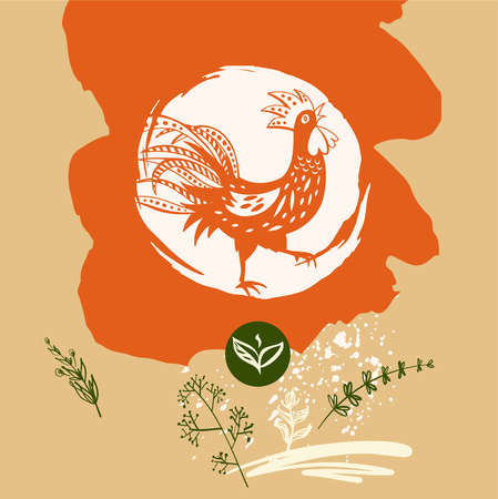 paintings: Freehand drawn sketch vector illustration. Silhouette red rooster on white background. Template logo, image with chicken, flower.