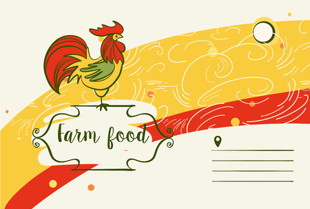 objects: Freehand drawn sketch vector illustration. Chicken farm template logo with rooster.  Open space for text.