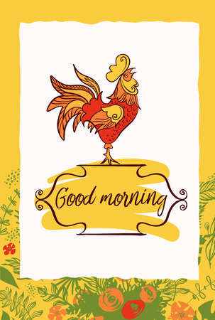 objects: Freehand drawn sketch vector illustration. Good morning. Rooster.