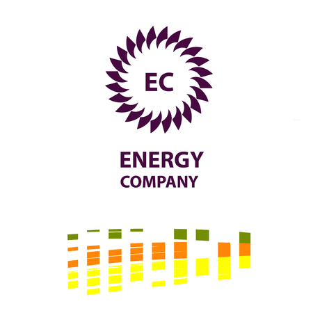 A Vector template logo, banner, poster for efficiency, eco, sun, energy business. Transport, ecological company use of natural resource.