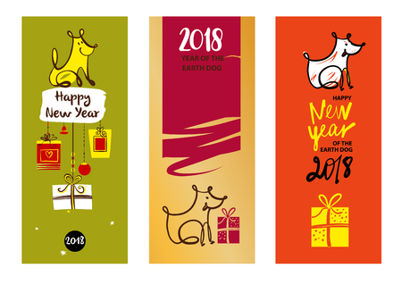christmas greeting card: Set of three sketch image dog puppy. Symbol chinese happy new year 2018. Illustration for gift, invitation, present, card with line vector silhouette dog.