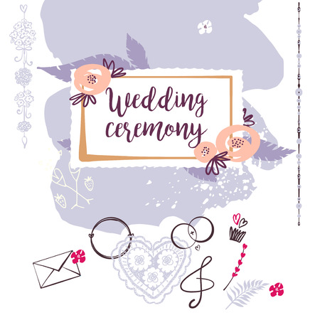 Wedding ceremony. Template banner, poster, invitation card, logo for happy event. Hand-drawn vector illustration. Stock Vector - 87577777