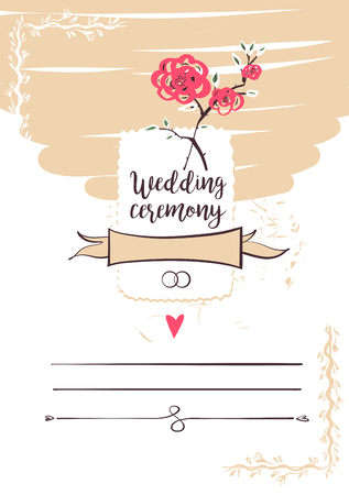 Wedding ceremony. Template banner, poster, invitation card, logo for happy event. Hand-drawn vector illustration. Stock Vector - 87577779