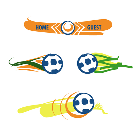 Set of image soccer and football ball for sport hobby, challenge, championship isolate on white background. Vector illustration.  Scoreboard for home and guest team. Illustration