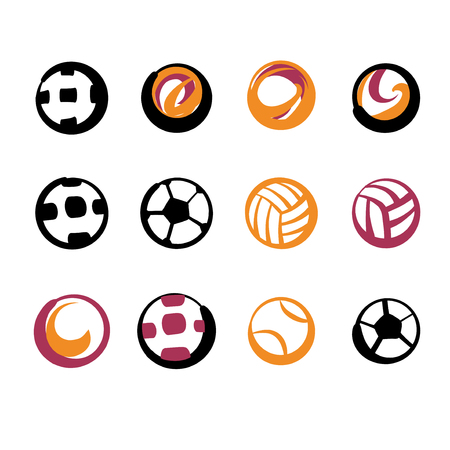 objects: Set of image soccer and football ball for sport hobby, challenge, championship isolate on white background. Vector illustration. Illustration