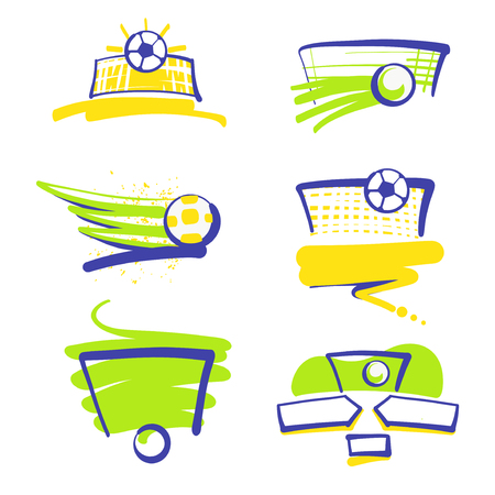 objects: Set of image soccer and football ball for sport hobby, challenge, championship isolate on white background. Vector illustration. Ball in gate. Goal. Template logo.
