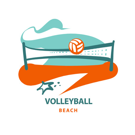 fitness equipment: Volleyball team, school, club template logo. Vector sketch illustration. Line sketch image ball and net. Beach championship. Print on t-shirt.