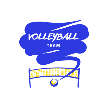 objects: Volleyball team, school, club template logo. Vector sketch illustration. Line sketch image ball and net. Beach championship. Print on t-shirt.
