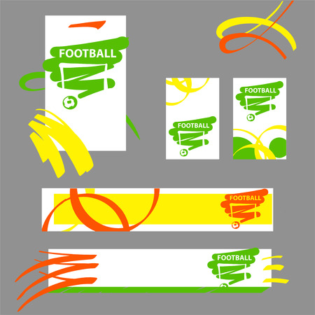 objects: Hand-drawn sketch image template set banner, poster, flyer with emblem, sign, logo, logotype for football, soccer club, team. Vector illustration. Illustration