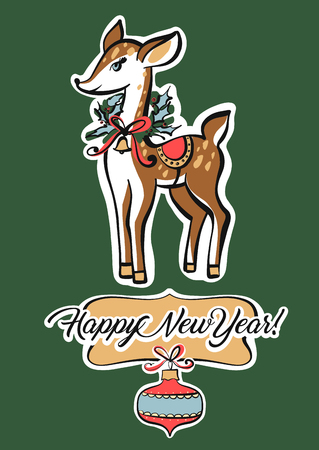 Deer on green background. Freehand drawn image template poster, banner for happy new year and Merry Christmas party. Sketch vector illustration.