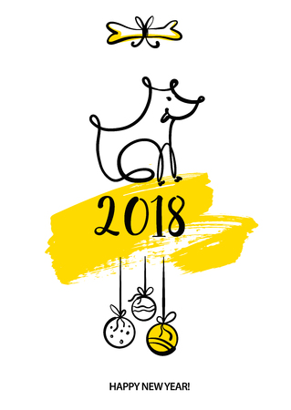 Symbol lunar zodiac chinese happy new year 2018 image of dog. Sketch vector illustration for gift, invitation, present, card with line vector silhouette puppy dog.