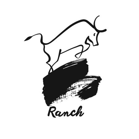 Image white bull. Ranch. Sketch illustration. Template logo.
