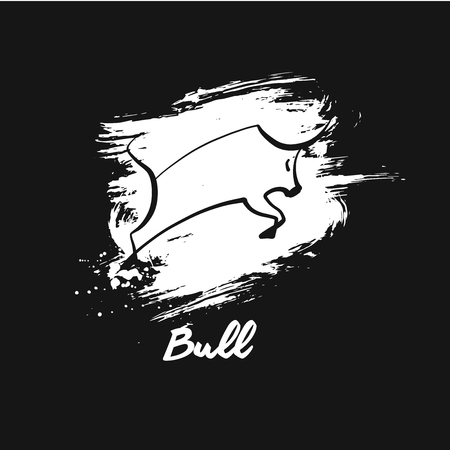 White bull template logo. Sketch vector illustration