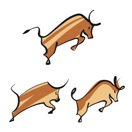 Bull logo template image. Silhouette horned taurus