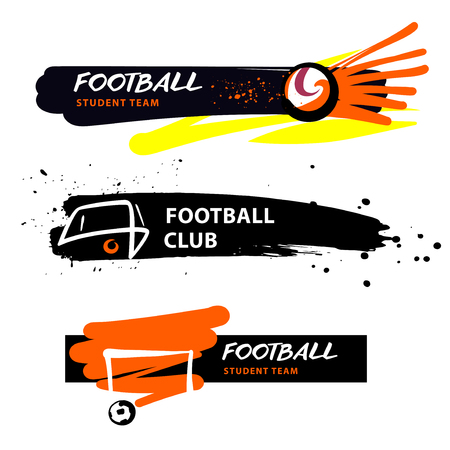 Football student team, school. Ball in goal. Concept illustration for sport college, student team in Sketch vector illustration.