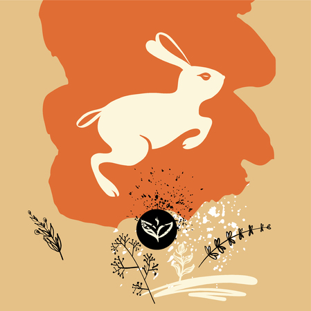 Freehand drawn element design for banner, poster, card, postcard with rabbit. Chinese symbol of moon and longevity. Sketch vector illustration.