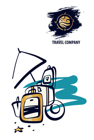 Travel around world. Baggage, luggage on beach. Concept template logo, banner, poster for travel agency, company, business. Sketch vector illustration