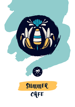Summer cafe logo. Two banana and ice cream on dark background. Element graphic design for menu tropical food in vacation. Sketch vector illustration.