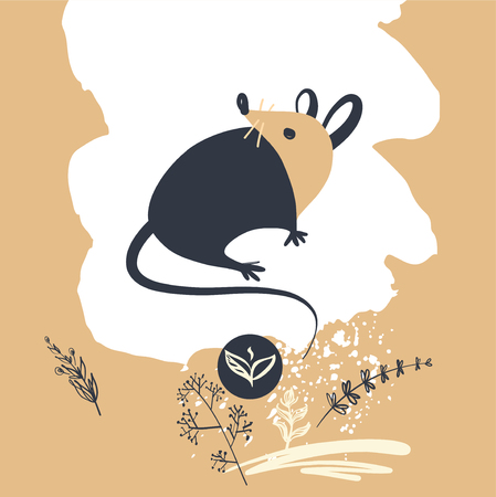 Wild rat.Concept image of symbol chinese happy new year 2020 on light background. Illustration