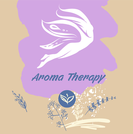 Aroma therapy.Concept image of symbol flight, beauty and relaxation.Silhouette abstract girl, woman.Wing butterfly.Template logo, banner, poster for spa boutique, resort hotel.Vector illustration.