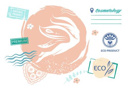 Prodotto ecologico di cosmetologia. Logo modello, banner con ragazza astratta.