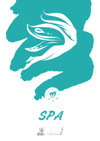 Text spa. Silhouette abstract girl, woman with wing butterfly.Vector sketch illustration.  Illustration