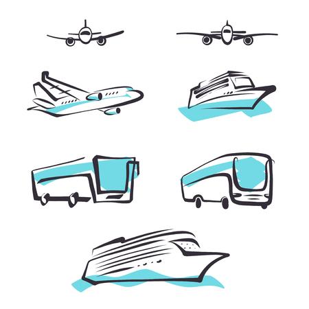set of transportation logo template sketch image bus airplane