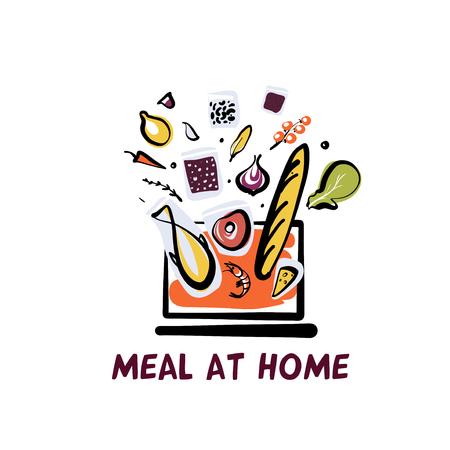 Meal at home. Online order food ingredient on screen laptop. Sketch vector illustration.